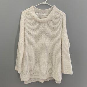 Lou & Grey Sweater Sz XL White loose knit 1/2 slee